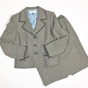Tahari Wool Tweed Skirt Suit